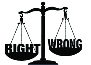 scales of justice weighing Right and Wrong