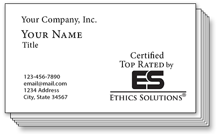 Certified Top Rated by Ethics Solutions Business Card