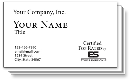 Presentation of sample Ethics Solutions Business Cards