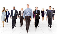 Group of co-workers and employees walking